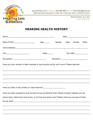 hearing history form